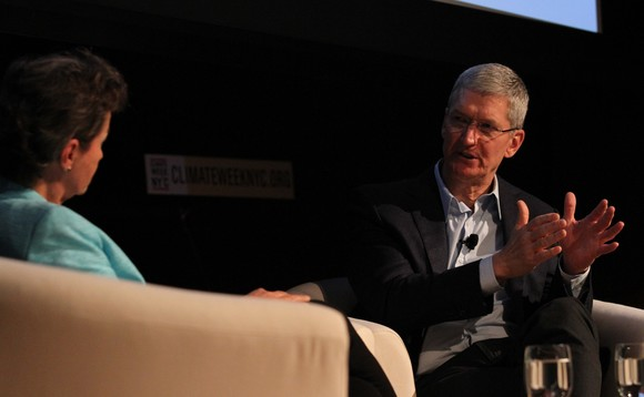 Apple CEO Tim Cook picture talking at Climate Week New York in September 2014