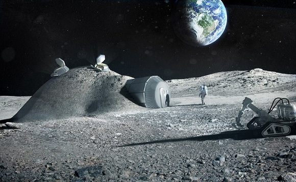 Illustration of a lunar base made with 3D printing. Image: ESA/Foster + Partners