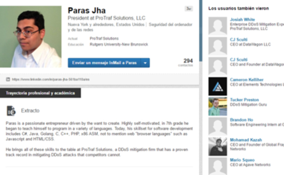 The LinkedIn page of Mirai botnet author Paras Jha
