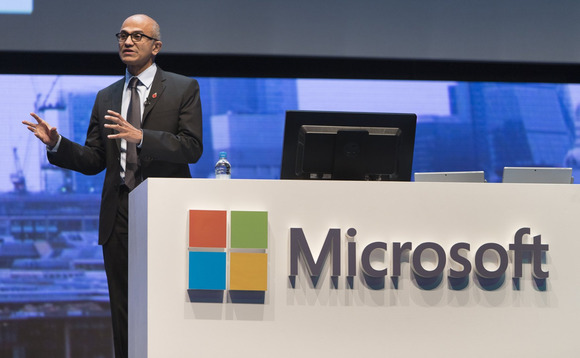Nadella pictured at the 'Future Decoded' event in 2017