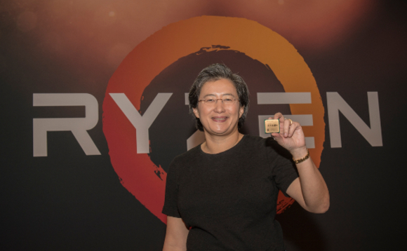 AMD CEO Lisa Su unveiling the first generation Ryzen CPUs