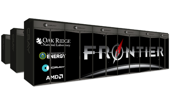 Mockup of the Frontier supercomputer Cray and AMD are building for Oak Ridge National Laboratory in the US