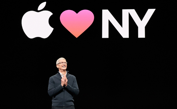 Apple CEO Tim Cook opening the company's launch event in New York