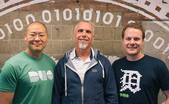 Duo Security CEO Dug Song (left) alongside Cisco's Gee Rittenhouse (centre) and Duo Security CTO Jon Oberheide (right)