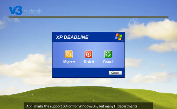 """Risking it"" with Windows XP not looking such a smart move now..."