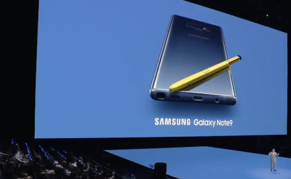 Samsung's mobile head DJ Koh unveiling the new Galaxy Note 9 in New York