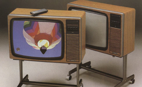 "21-inch colour televisions from Ferguson with ""slimline"" remote controls - the state of the art from the 1980s"
