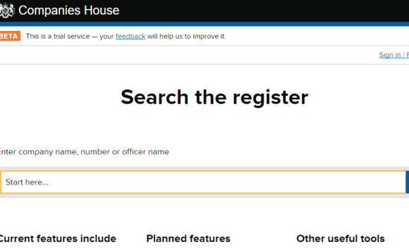 Companies House website beta