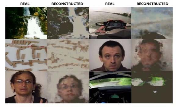 Frames from videos watched by a test subject and the corresponding image generated by the neural network. Image: Grigory Rashkov/Neurobotics via MIPT