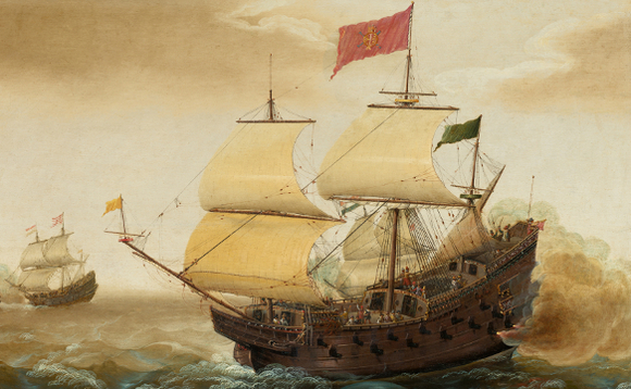 Spanish galleon at war, extracted from painting by Cornelis Verbeeck