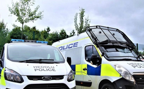 Police vans belonging to South Wales Police - but without facial recognition surveillance cameras attached