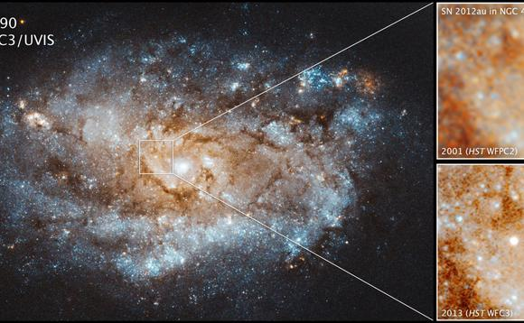 Astronomers find supernovae can leave behind gas that slams into hydrogen and brightens again